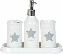 Clayre & Eef 63370 Badezimmer Set 4teilig weiß grau Stern groß