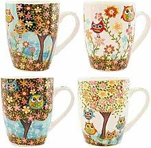 Clayre & Eef 6CEMS0003 Tasse Becher Kaffeetasse Teetasse 4er Set Eulen ca. 9 x 10 cm