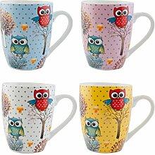 Clayre & Eef 6CEMS0005 Tasse Becher Kaffeetasse Teetasse 4er Set Eulen ca. 8 x 11 cm