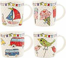 Clayre & Eef 6CEMS0006 Tasse Becher Kaffeetasse Teetasse 4er Set Bus Schiff Eis Vogel ca. 9 x 10 cm
