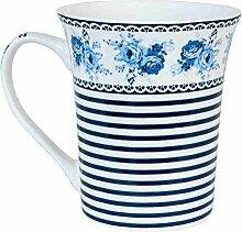 Clayre & Eef 6CEMS0009 Tasse Becher Kaffeetasse Teetasse Blumen blau 4er Set ca. Ø 8 x 9 cm