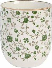 Clayre & Eef 6CEMU0001 Becher Tasse ohne Henkel Blumen Grün ca. Ø 65 x 8 cm