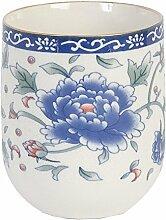 Clayre & Eef 6CEMU0008 Becher Tasse ohne Henkel große blaue Blume ca. Ø 65 x 8 cm