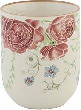 Clayre & Eef 6CEMU0020 Becher Tasse Teetasse Beige Rot Blumen 6 x 8 cm