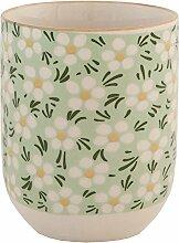 Clayre & Eef 6CEMU0023 Becher Tasse ohne Henkel Blumen grün ca. Ø 6 x 8 cm