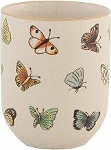 Clayre & Eef 6CEMU0025 Becher Tasse ohne Henkel Schmetterlinge ca. Ø 6 x 8 cm