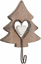 Clayre & Eef 6H0748CH Wandhaken Garderobe Haken Garderobenhaken Tannenbaum Baum braun ca. 10 x 4 x 13 cm