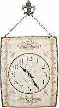 Clayre & Eef 6KL0133 Nostalgie Uhr Wanduhr mit Kette