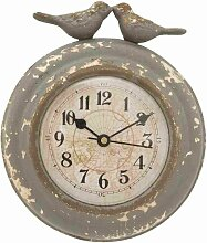 Clayre & Eef 6KL0137 Uhr Wanduhr Vögel Grau ca. 13 x 4 x 15 cm