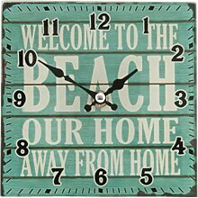 Clayre & Eef 6KL0266 Uhr Wanduhr WELCOME TO THE BEACH... ca. 15 x 15 cm