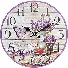 Clayre & Eef 6KL0279 Uhr Wanduhr Schmetterling Lavendel aubergine ca. Ø 29 cm