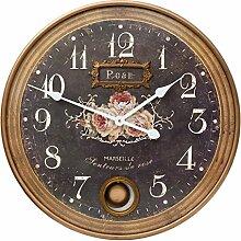 Clayre & Eef 6KL0331 Uhr Wanduhr braun ca. Ø 56 x 4 cm