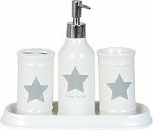Clayre & Eef Badezimmer Set 4teilig weiß grau Stern groß