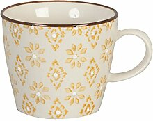 Clayre & Eef Becher aus Porzellan creme - gelb 8cm