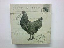 Clayre & Eef Bild Hahn Carte Postale 15x15x3 cm