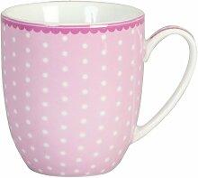 Clayre & Eef ERMUS Kaffee Tasse Cup Becher Porzellan Polka dot pink