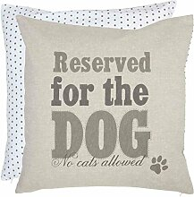 Clayre & Eef FDO30 For Dogs Only Kissenbezug Kissenhülle Wendemuster grau ca. 50 x 50 cm