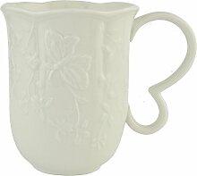 Clayre & Eef GBMU Tasse Becher Kaffeetasse weiß ca. 0,28 L