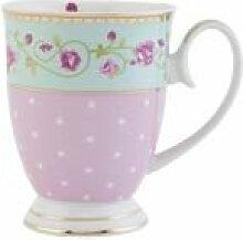 Clayre & Eef GRMU Tasse Becher Kaffeetasse Blume innen ca. 0,3 L