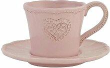 Clayre & Eef Kaffeetasse mit Untertasse rosa Keramik
