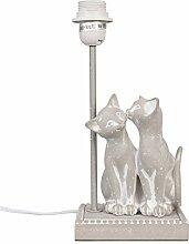Clayre & Eef Nostalgie Vintage LAMPENFUSS grau KATZENPAAR