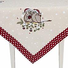 Clayre & Eef S025.001 Tischdecke Weihnachtstauben