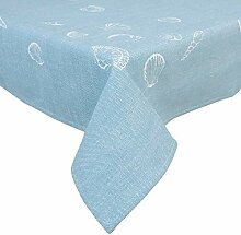 Clayre & Eef SES03BL Tischdecke Muscheln Blau 130