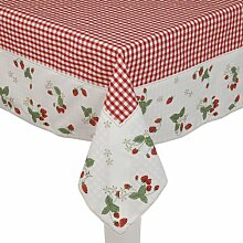 Clayre & Eef SG05 Tischdecke - Serie Strawberry Garden - 150 x 150 Zentimeter