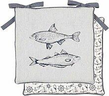 Clayre & Eef Sitzkissen grau 40x40 cm Fisch
