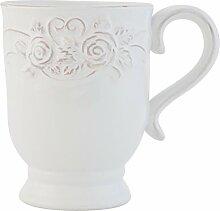 Clayre & Eef TCRMU Tasse Becher Kaffeetasse Teetasse weiß ca. Ø 9 x 12 cm