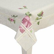 Clayre & Eef Tischdecke LOVELYROSE rosa/grün/weiß 150x150 cm