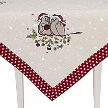 Clayre & Eef Tischdecke Weihnachten Vögel Punkte