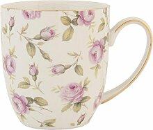 Clayre & Eef TRMU Tasse Becher Kaffeetasse Blumen rosa ca. 03L