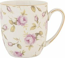 Clayre & Eef TRMUS Tasse Becher Kaffeetasse Blumen rosa ca. 02L