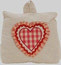 Clayre & Eef Türstopper Taschenform mit Griff natur mit rotem Herzchen