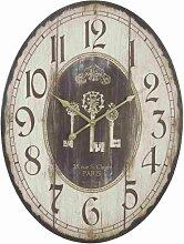 Clayre & Eef Wanduhr oval mit Schlüsselmotiv Vintage 60cm