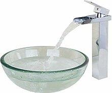 Cleartempered Glas Waschbecken rund Waschbecken
