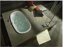 Cleopatra Oval 2 Personen Badewanne Pareva 190 x 100 x 59 cm groß inkl. Hansgrohe Exafill Wassereinlauf und Armatur mit Handbrause Uno2