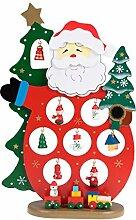 """Clever Creations - Tischdekoration Weihnachtsmann mit 11 Mini-Figuren & Zug - Sammlerstück - Traditionelle Weihnachtsdeko - 100 % echtes Holz - 10,15"""" (25,8 cm)"""