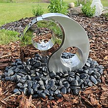 CLGarden Edelstahl Springbrunnen Yin Yang mit LED