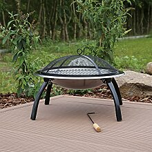 CLGarden Feuerschale mit Grill aus Edelstahl für den Garten aussen mit Funkenschutzgitter Grillrost Feuerstelle mit Grillfunktion