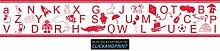 CLICKANDPRINT Aufkleber » Bordüre: Alphabet mit Tieren, 300x50,1cm, Blutrot • Dekoaufkleber / Autoaufkleber / Sticker / Decal / Vinyl
