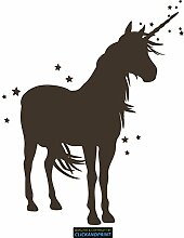 CLICKANDPRINT Aufkleber » Einhorn mit Sternen, 180x145,4cm, Carbon Oracal weiß matt • Dekoaufkleber / Autoaufkleber / Sticker / Decal / Vinyl