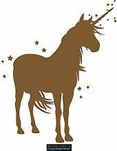 CLICKANDPRINT Aufkleber » Einhorn mit Sternen, 50x40,4cm, Bronze Metallic • Dekoaufkleber / Autoaufkleber / Sticker / Decal / Vinyl