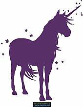 CLICKANDPRINT Aufkleber » Einhorn mit Sternen, 60x48,5cm, Violett • Dekoaufkleber / Autoaufkleber / Sticker / Decal / Vinyl