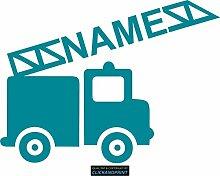CLICKANDPRINT Aufkleber » Feuerwehr mit Namen, 100x74,3cm, Türkisblau • Dekoaufkleber / Autoaufkleber / Sticker / Decal / Vinyl