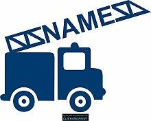 CLICKANDPRINT Aufkleber » Feuerwehr mit Namen, 110x81,7cm, Metallic Azur • Dekoaufkleber / Autoaufkleber / Sticker / Decal / Vinyl