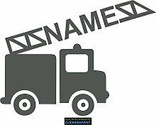 CLICKANDPRINT Aufkleber » Feuerwehr mit Namen, 120x89,1cm, Carbon Oracal anthrazit matt • Dekoaufkleber / Autoaufkleber / Sticker / Decal / Vinyl
