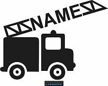 CLICKANDPRINT Aufkleber » Feuerwehr mit Namen, 120x89,1cm, Schwarz Reflektierend • Dekoaufkleber / Autoaufkleber / Sticker / Decal / Vinyl