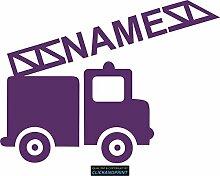 CLICKANDPRINT Aufkleber » Feuerwehr mit Namen, 120x89,1cm, Violett • Dekoaufkleber / Autoaufkleber / Sticker / Decal / Vinyl